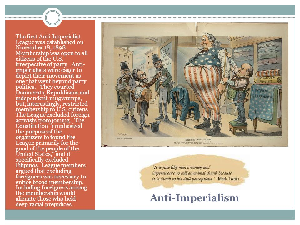 The first Anti-Imperialist League was established on November 18, 1898