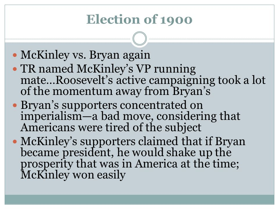 Election of 1900 McKinley vs. Bryan again