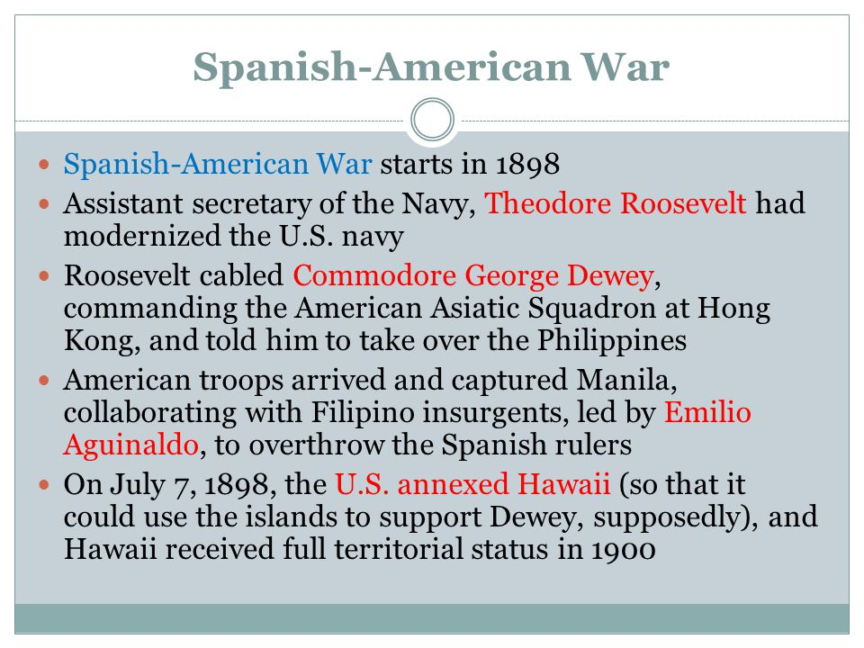 Spanish-American War Spanish-American War starts in 1898