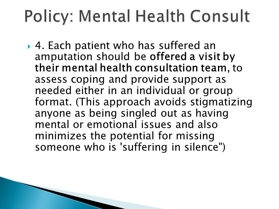 Policy: Mental Health Consult