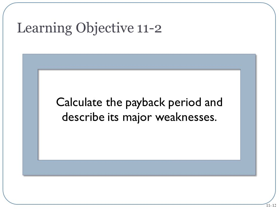 Calculate the payback period and describe its major weaknesses.