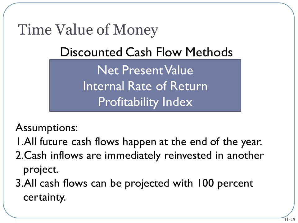 Time Value of Money Discounted Cash Flow Methods Net Present Value