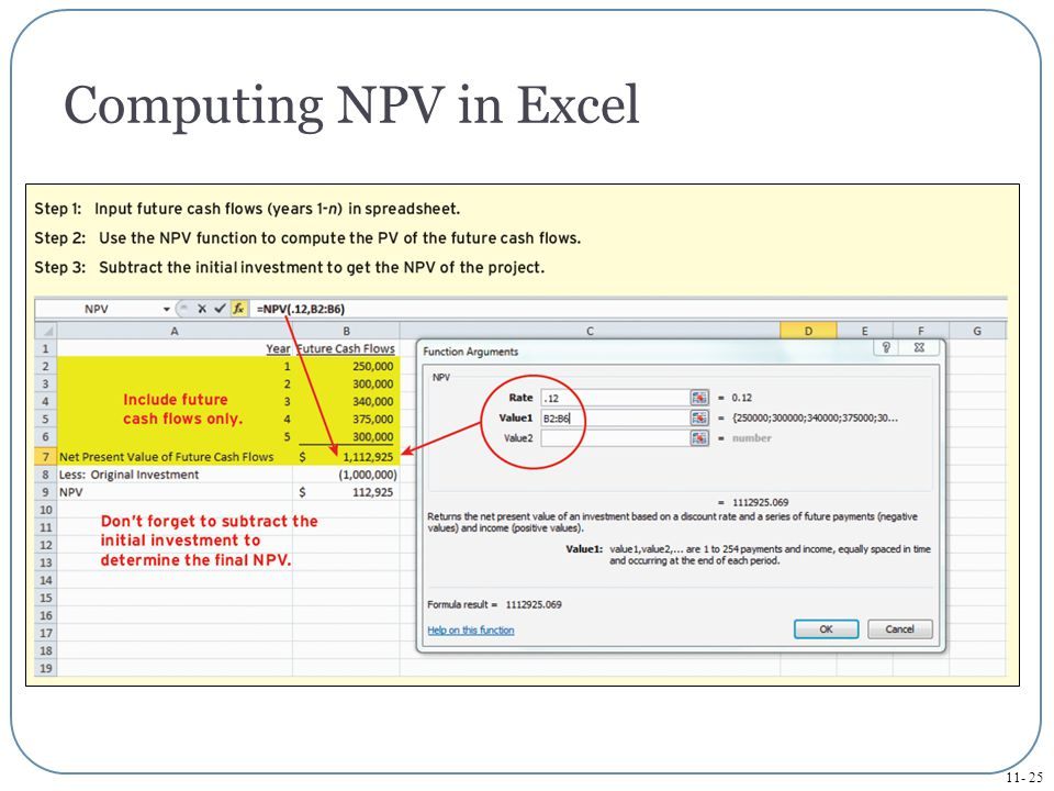 Computing NPV in Excel