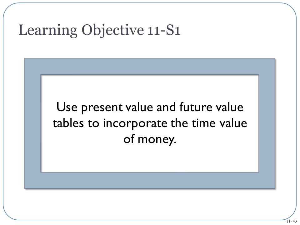 Learning Objective 11-S1 Use present value and future value tables to incorporate the time value of money.