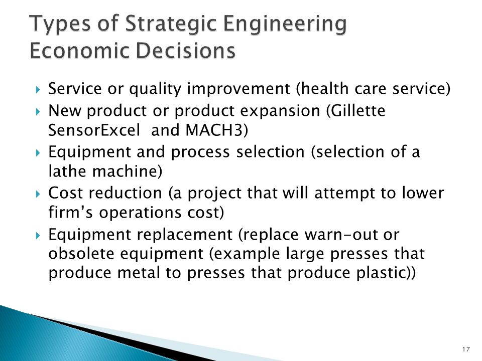 Types of Strategic Engineering Economic Decisions