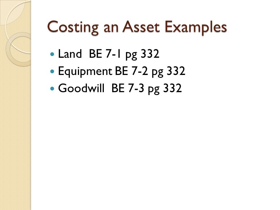 Costing an Asset Examples