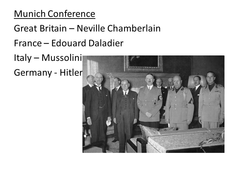 Munich Conference Great Britain – Neville Chamberlain France – Edouard Daladier Italy – Mussolini Germany - Hitler
