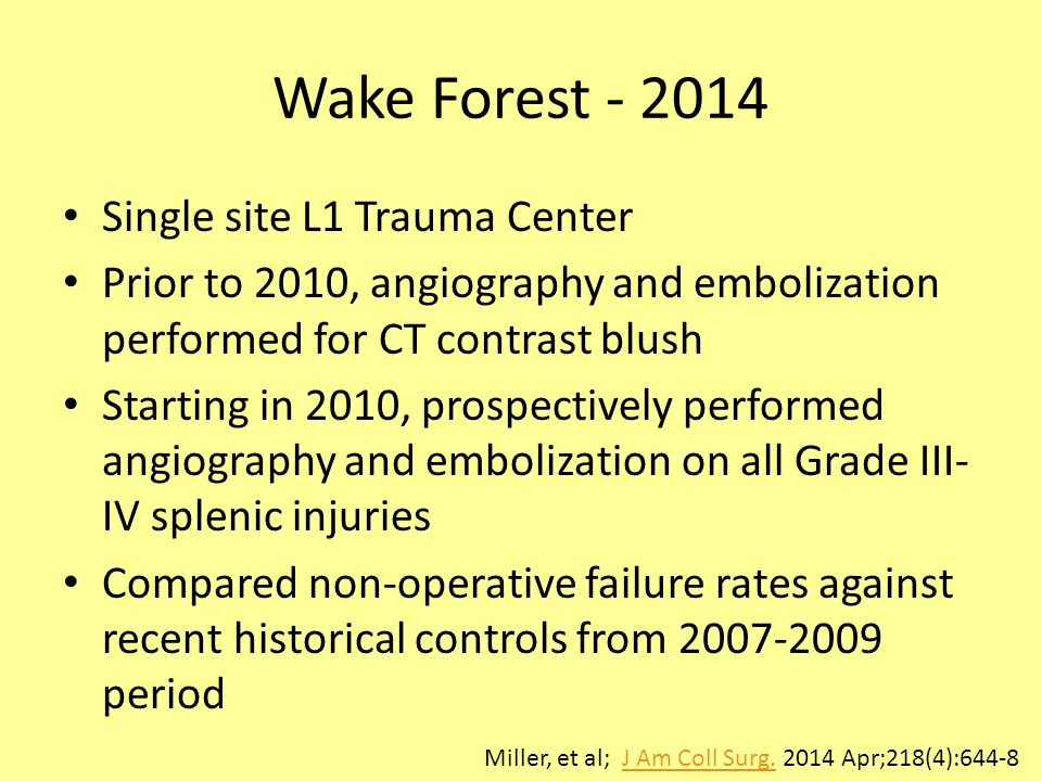 Wake Forest - 2014 Single site L1 Trauma Center