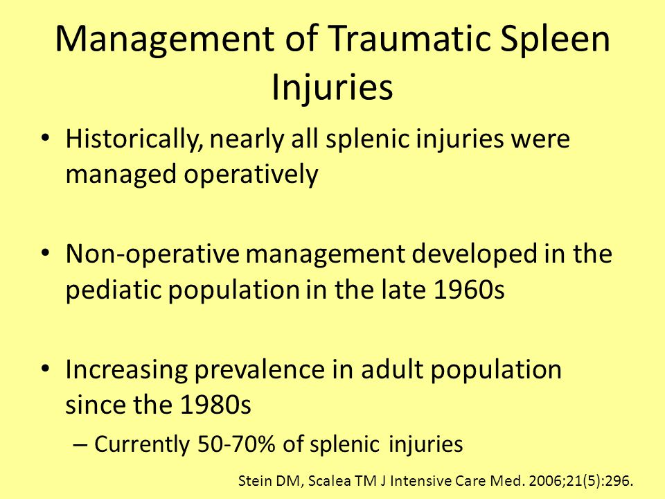 Management of Traumatic Spleen Injuries
