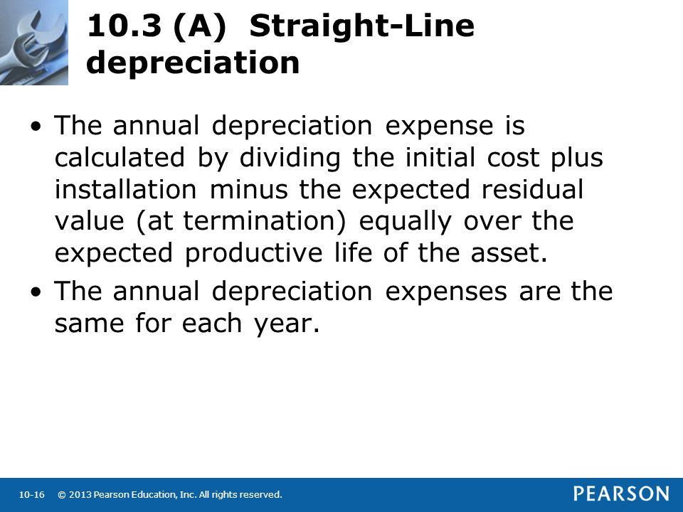 10.3 (A) Straight-Line depreciation