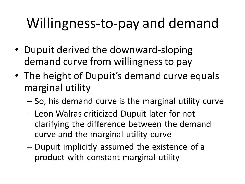 Willingness-to-pay and demand