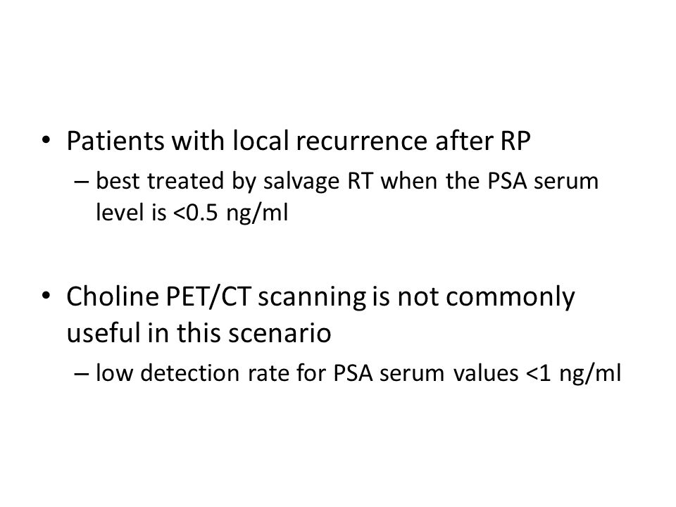 Patients with local recurrence after RP