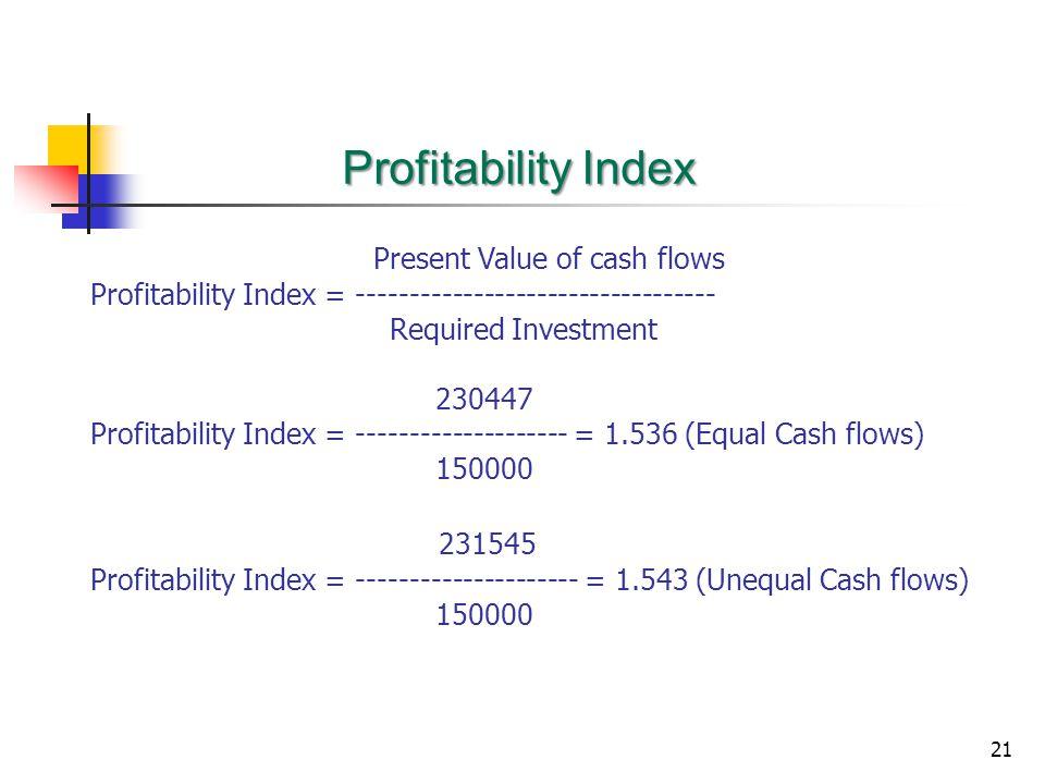 Profitability Index Present Value of cash flows 231545