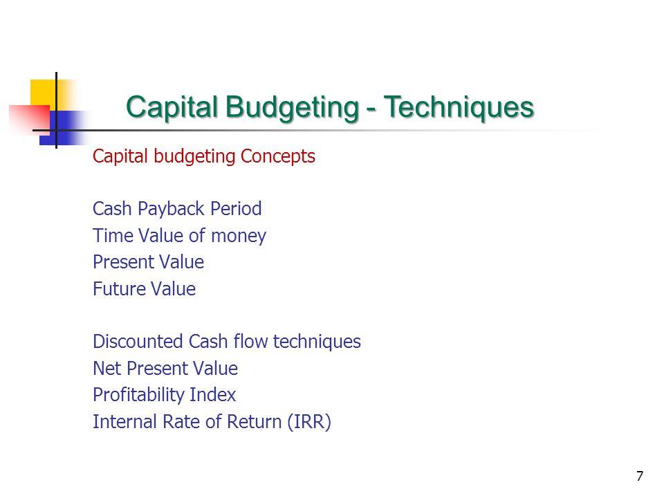 Capital Budgeting - Techniques