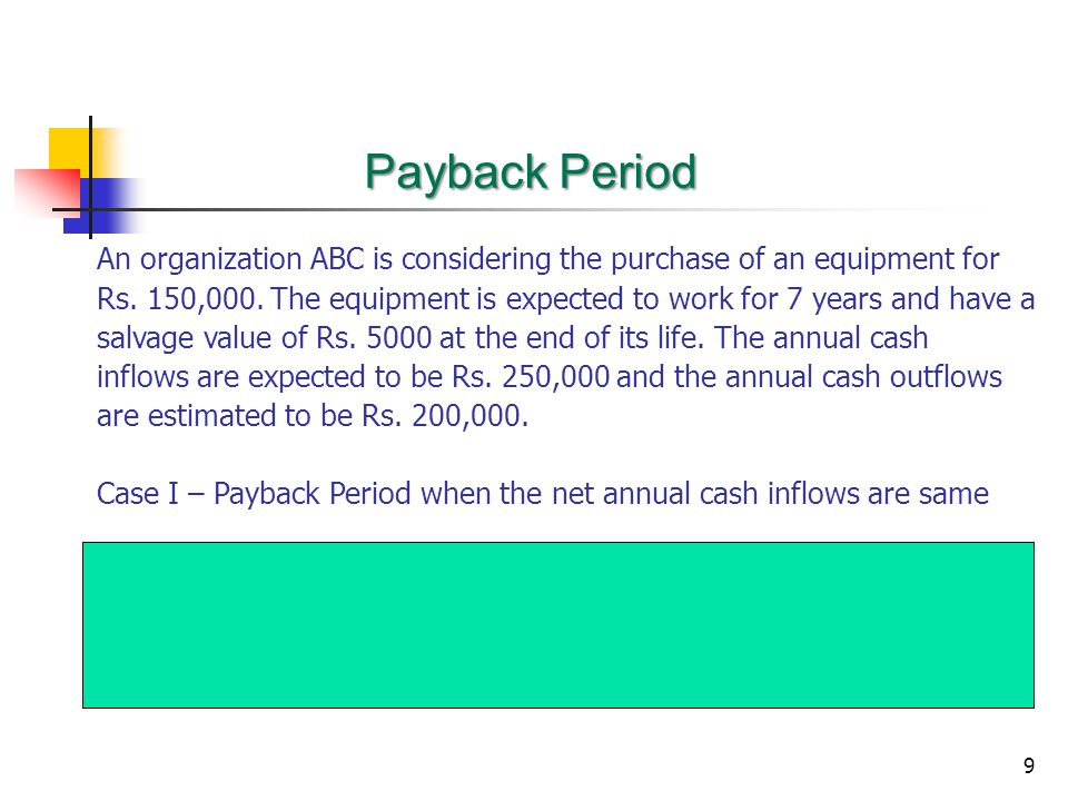 Payback Period An organization ABC is considering the purchase of an equipment for.