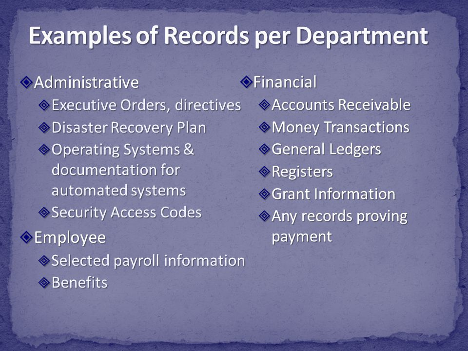 Examples of Records per Department