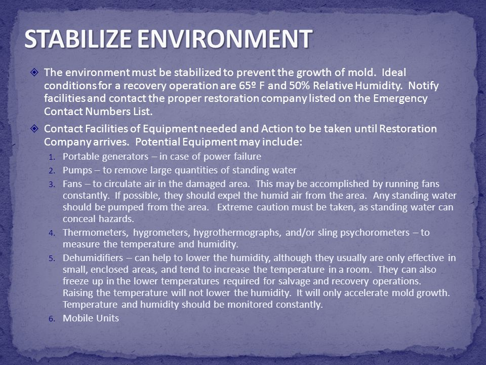 STABILIZE ENVIRONMENT
