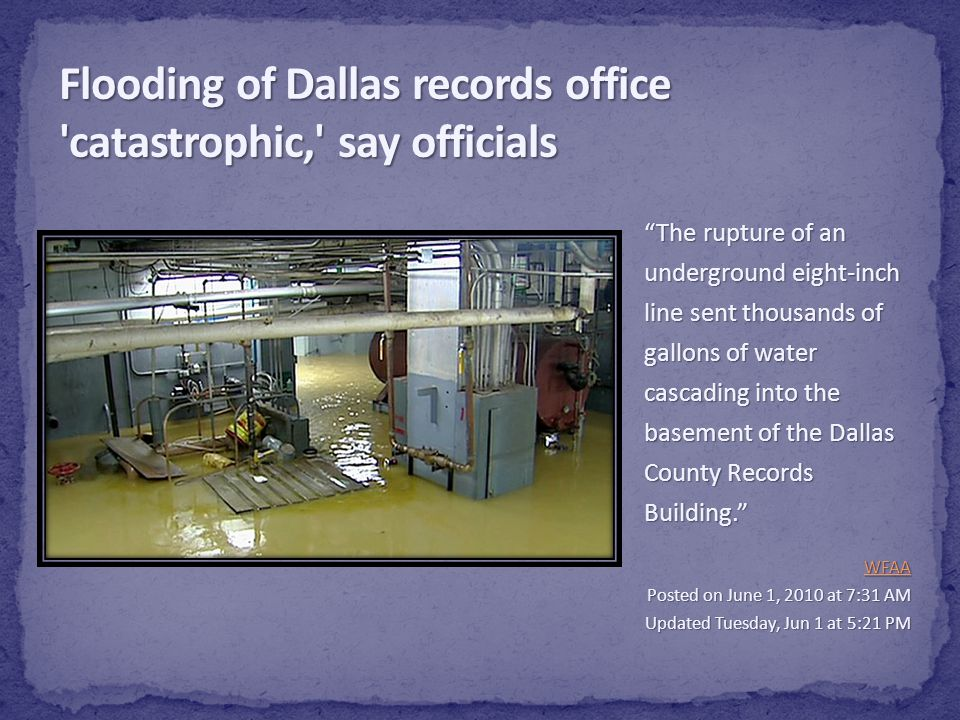 Flooding of Dallas records office catastrophic, say officials