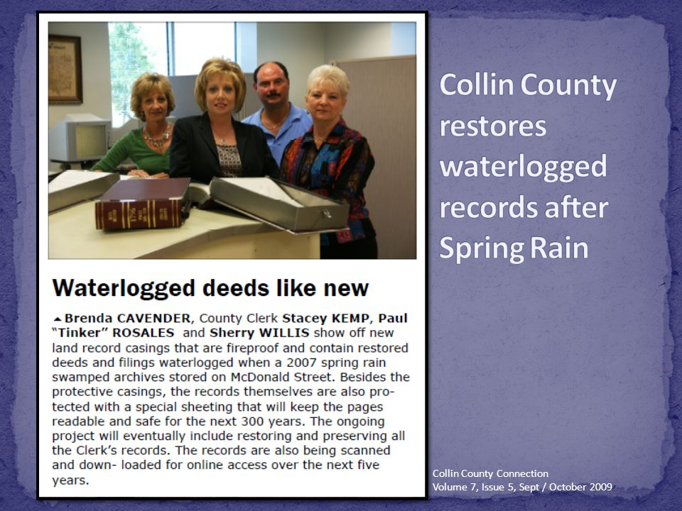 Collin County restores waterlogged records after Spring Rain