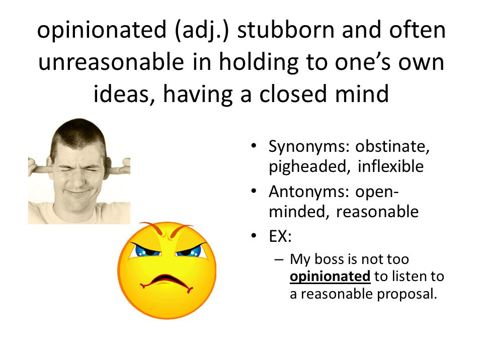 opinionated (adj.) stubborn and often unreasonable in holding to one's own ideas, having a closed mind