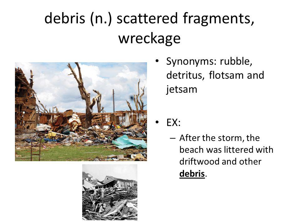 debris (n.) scattered fragments, wreckage