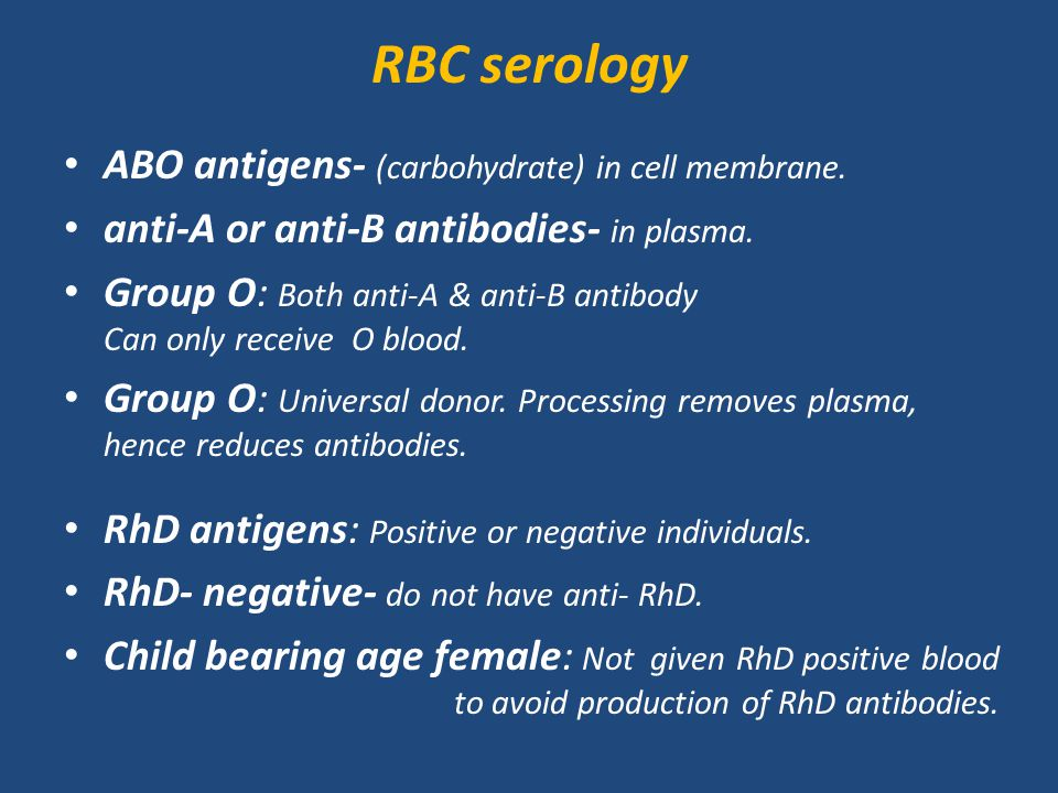 RBC serology ABO antigens- (carbohydrate) in cell membrane.
