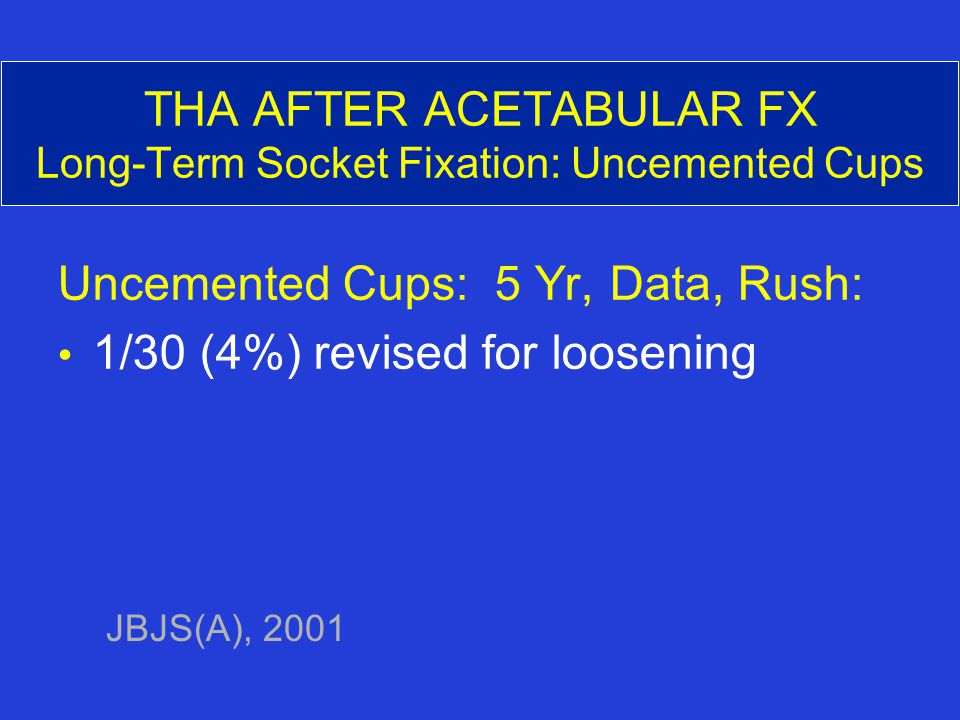 THA AFTER ACETABULAR FX Long-Term Socket Fixation: Uncemented Cups