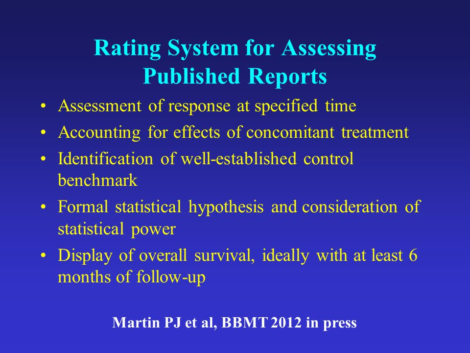 Rating System for Assessing Published Reports