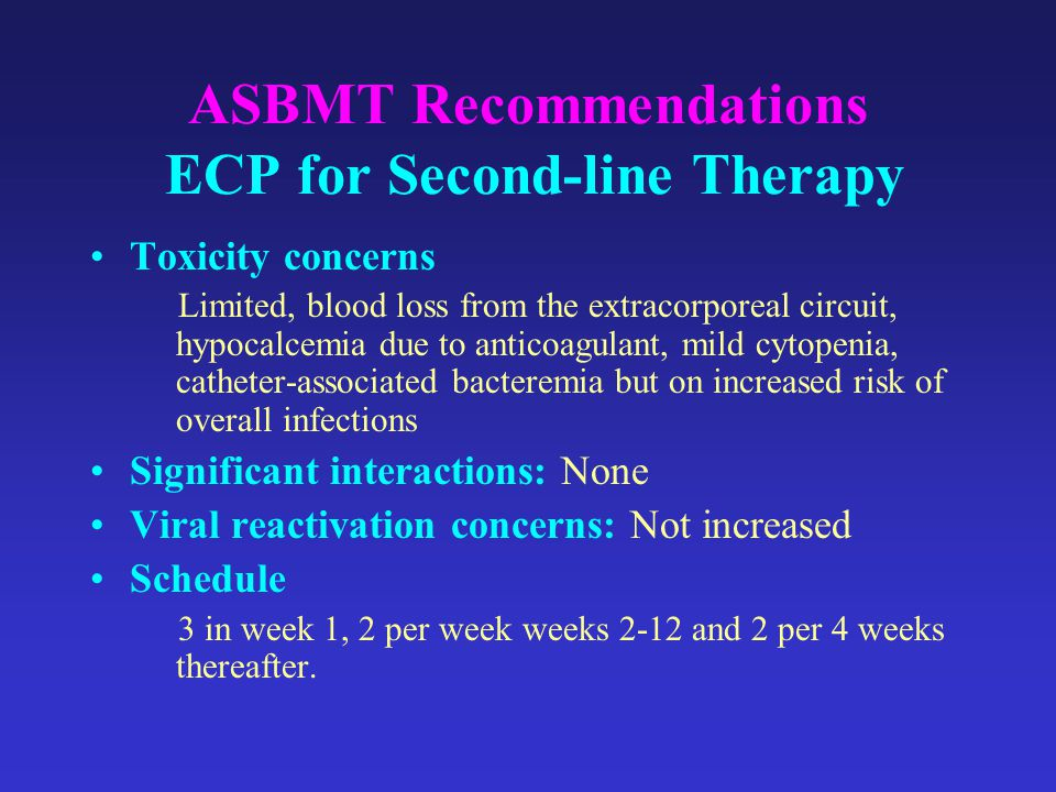 ASBMT Recommendations ECP for Second-line Therapy