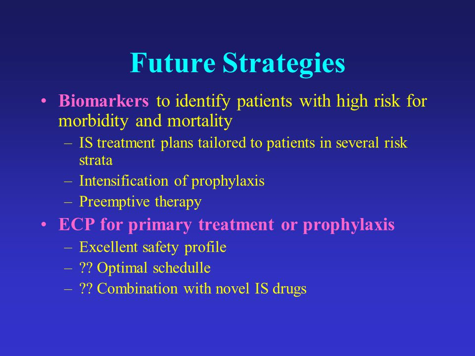 Future Strategies Biomarkers to identify patients with high risk for morbidity and mortality.