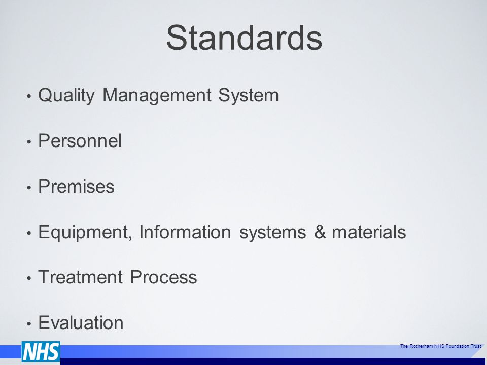 Standards Quality Management System Personnel Premises