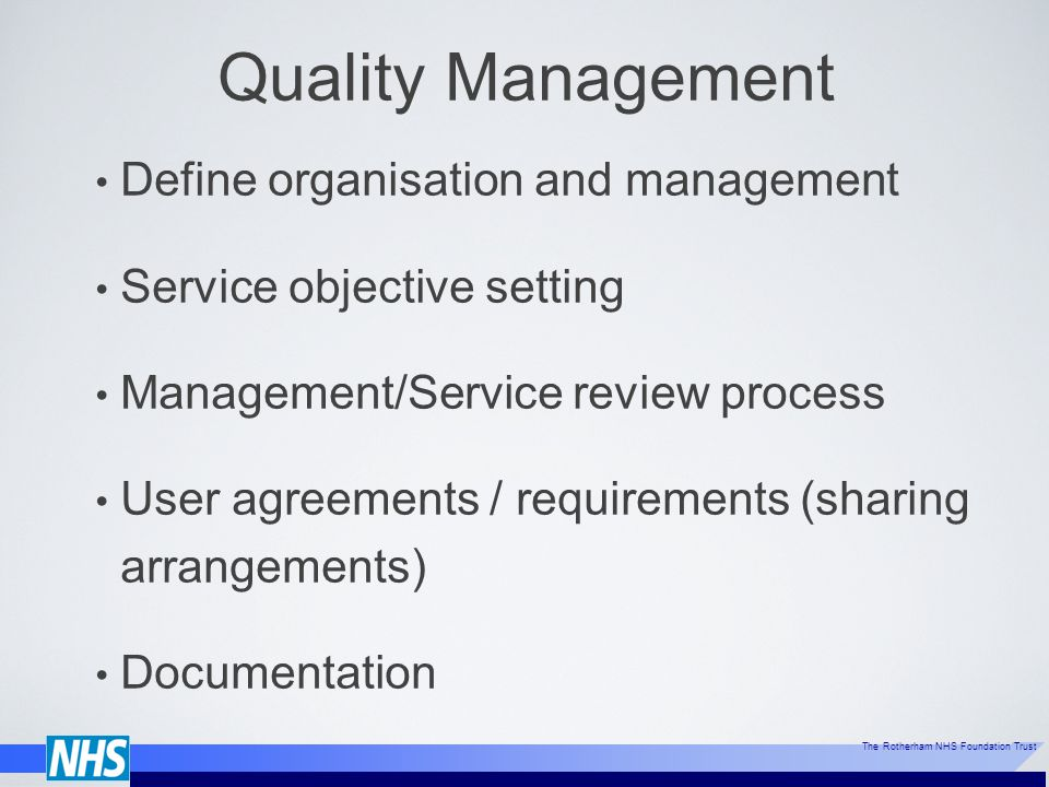 Quality Management Define organisation and management