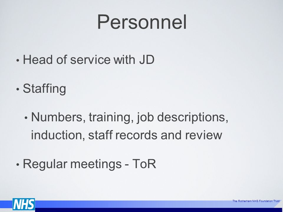 Personnel Head of service with JD Staffing