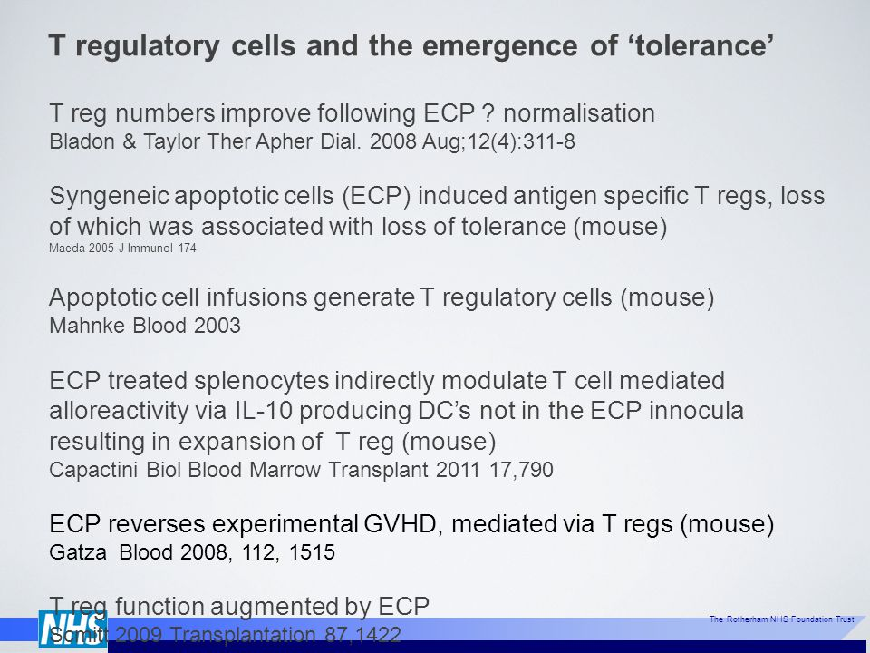 T regulatory cells and the emergence of 'tolerance'
