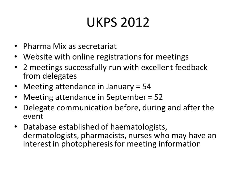 UKPS 2012 Pharma Mix as secretariat