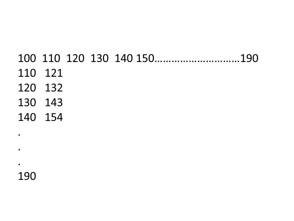110 120 130 140 150…………………………190 110 121 120 132 130 143 140 154 . 190
