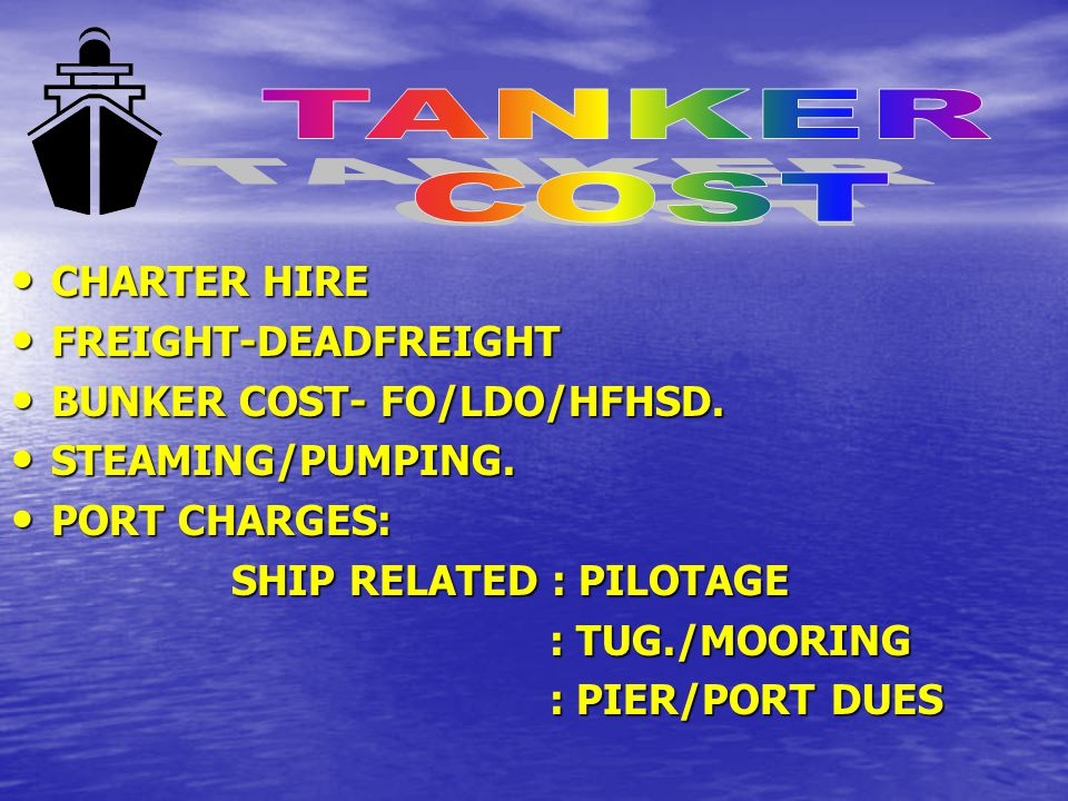 TANKER COST CHARTER HIRE FREIGHT-DEADFREIGHT