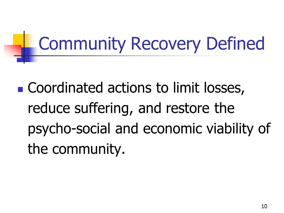 Community Recovery Defined
