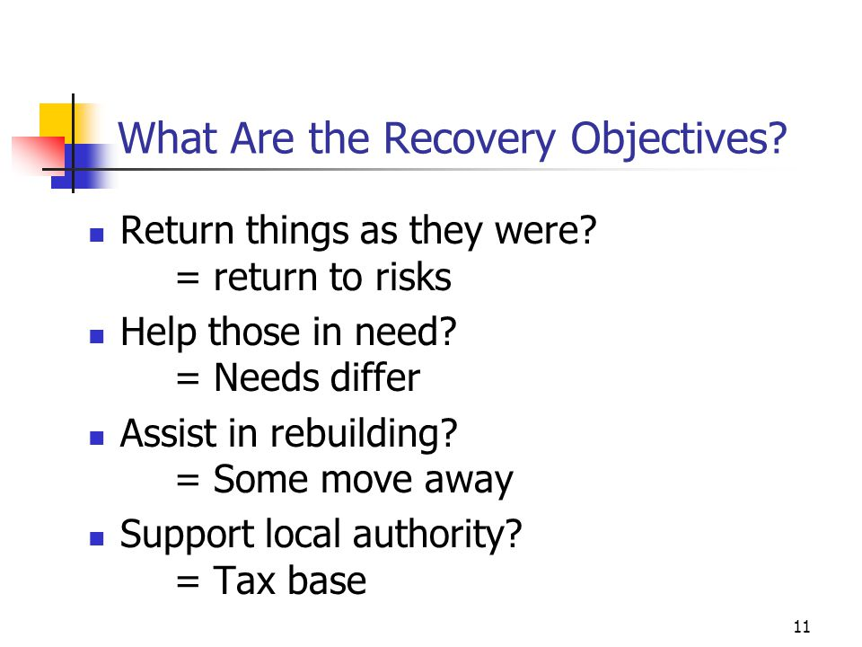 What Are the Recovery Objectives