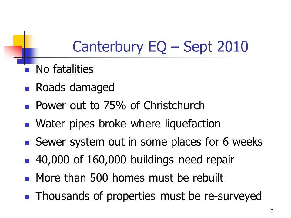 Canterbury EQ – Sept 2010 No fatalities Roads damaged