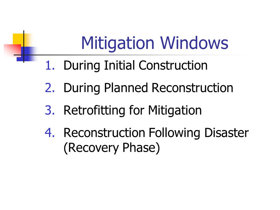 Mitigation Windows During Initial Construction