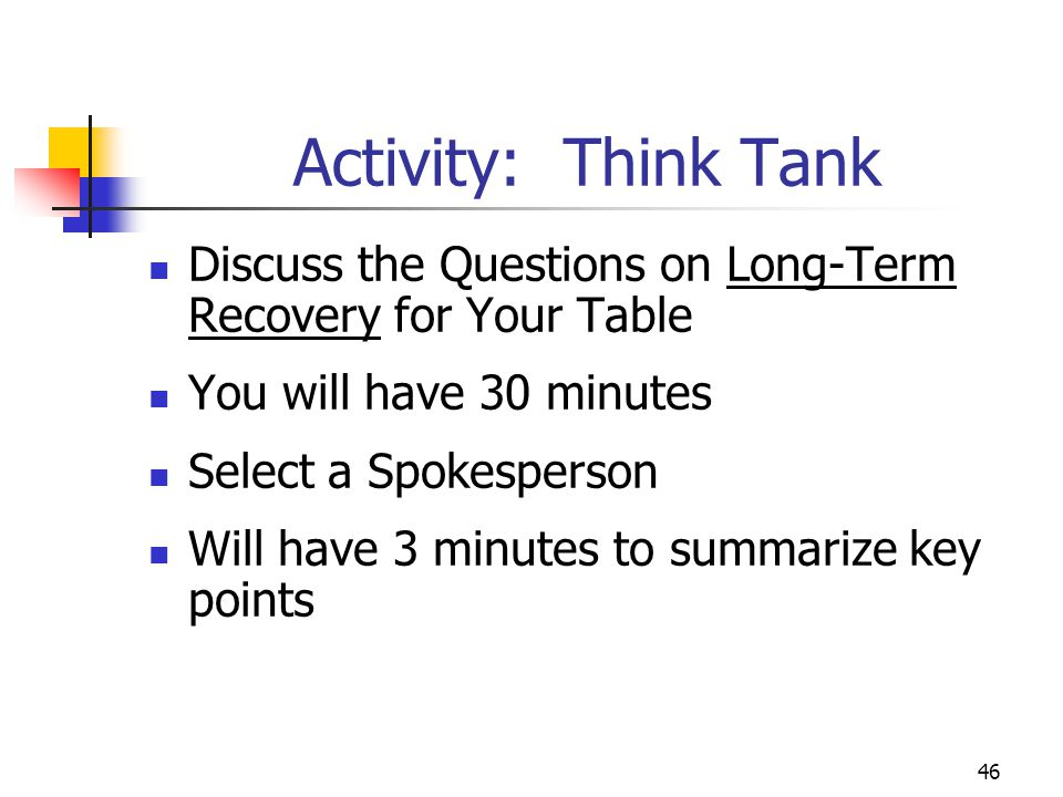 Activity: Think Tank Discuss the Questions on Long-Term Recovery for Your Table. You will have 30 minutes.