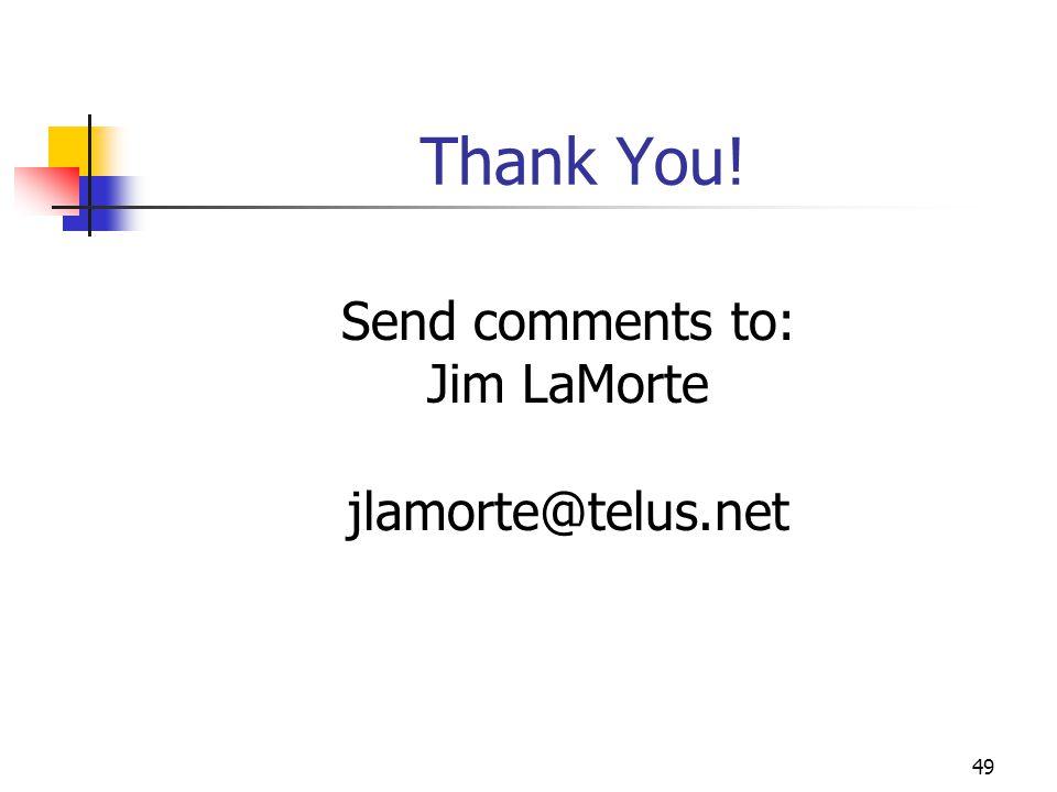 Thank You! Send comments to: Jim LaMorte jlamorte@telus.net