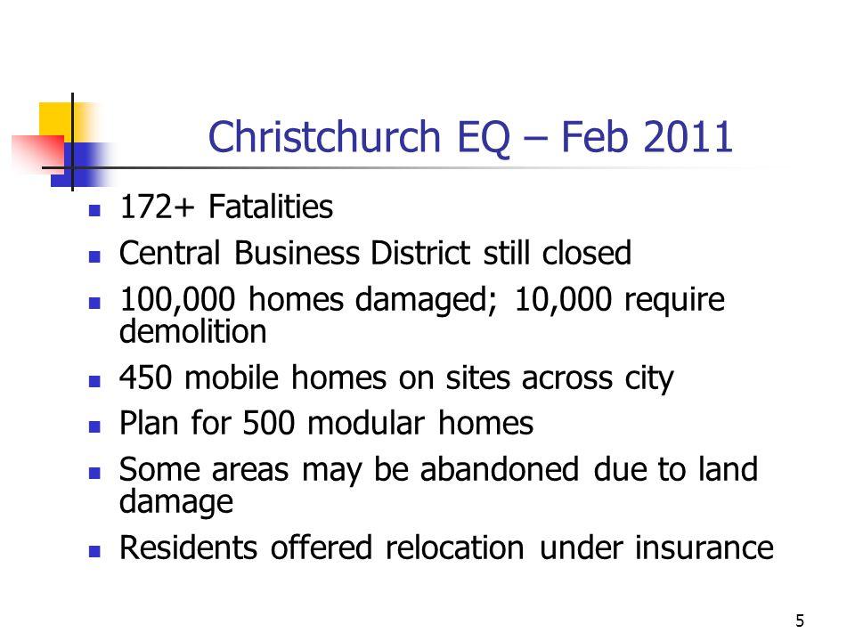 Christchurch EQ – Feb 2011 172+ Fatalities