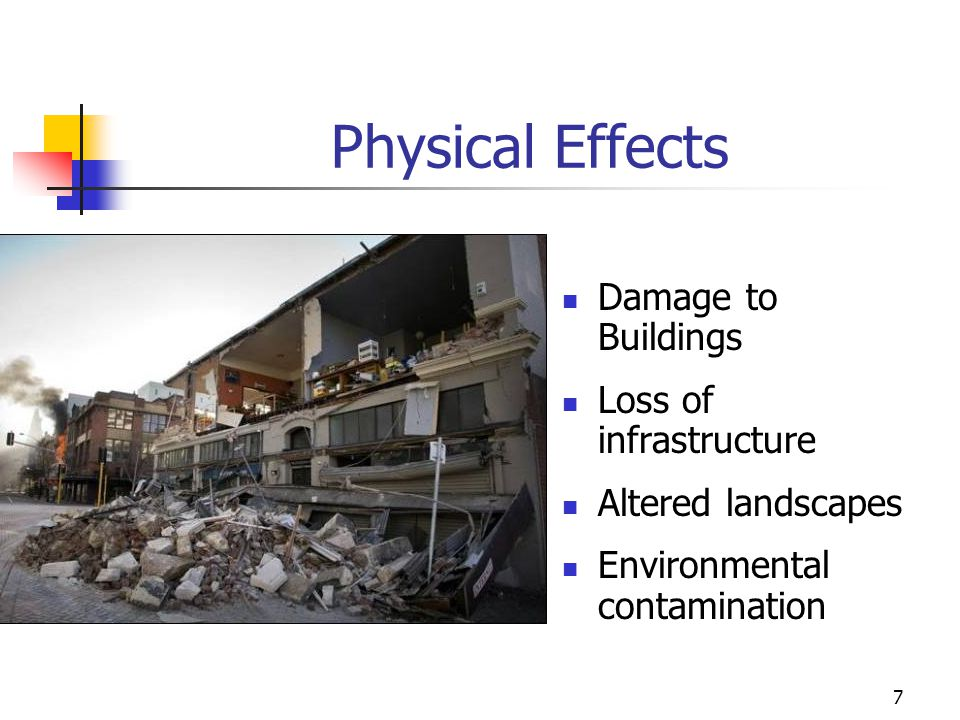 Physical Effects Damage to Buildings Loss of infrastructure
