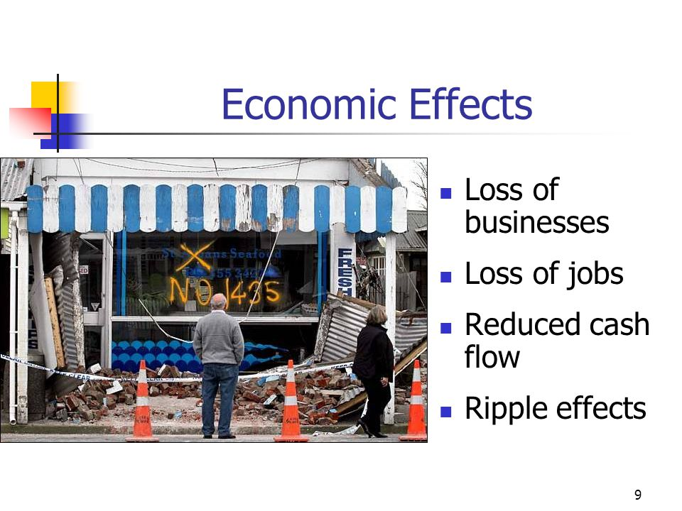 Economic Effects Loss of businesses Loss of jobs Reduced cash flow