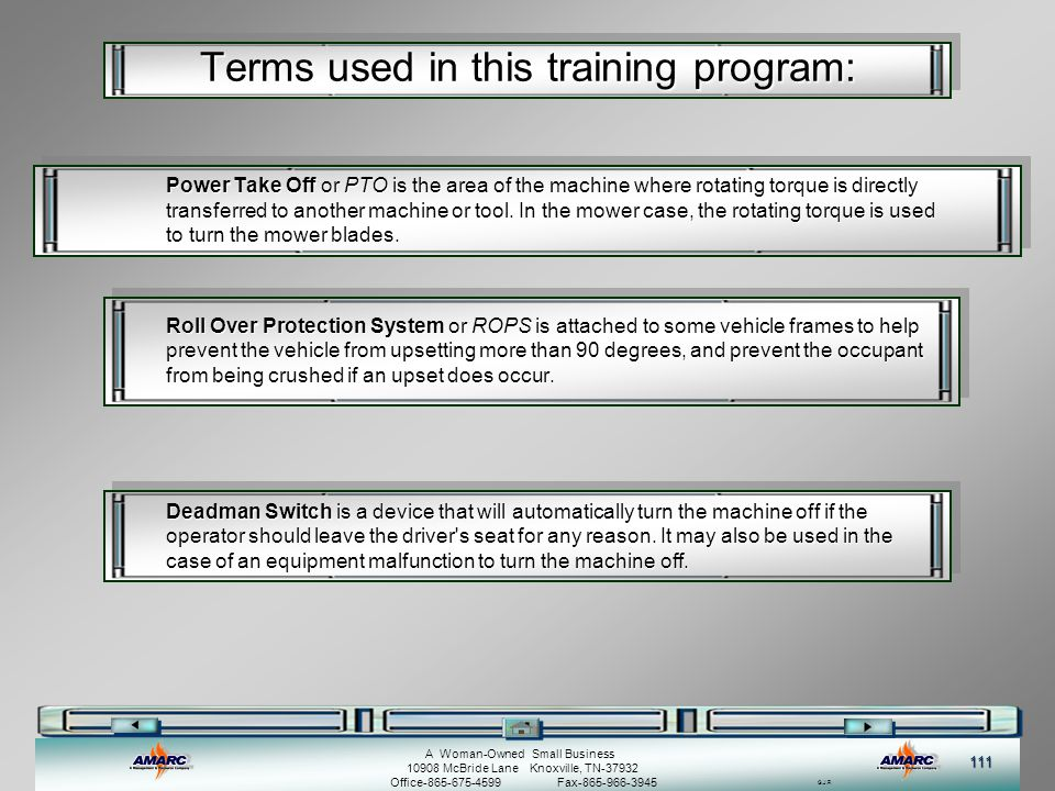 Terms used in this training program: