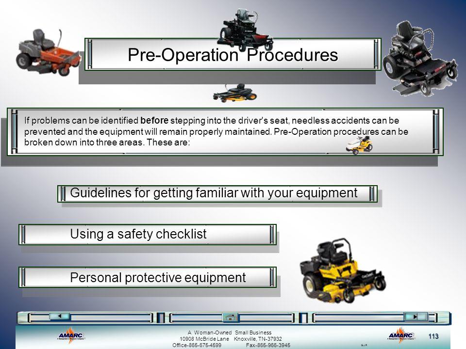 Pre-Operation Procedures