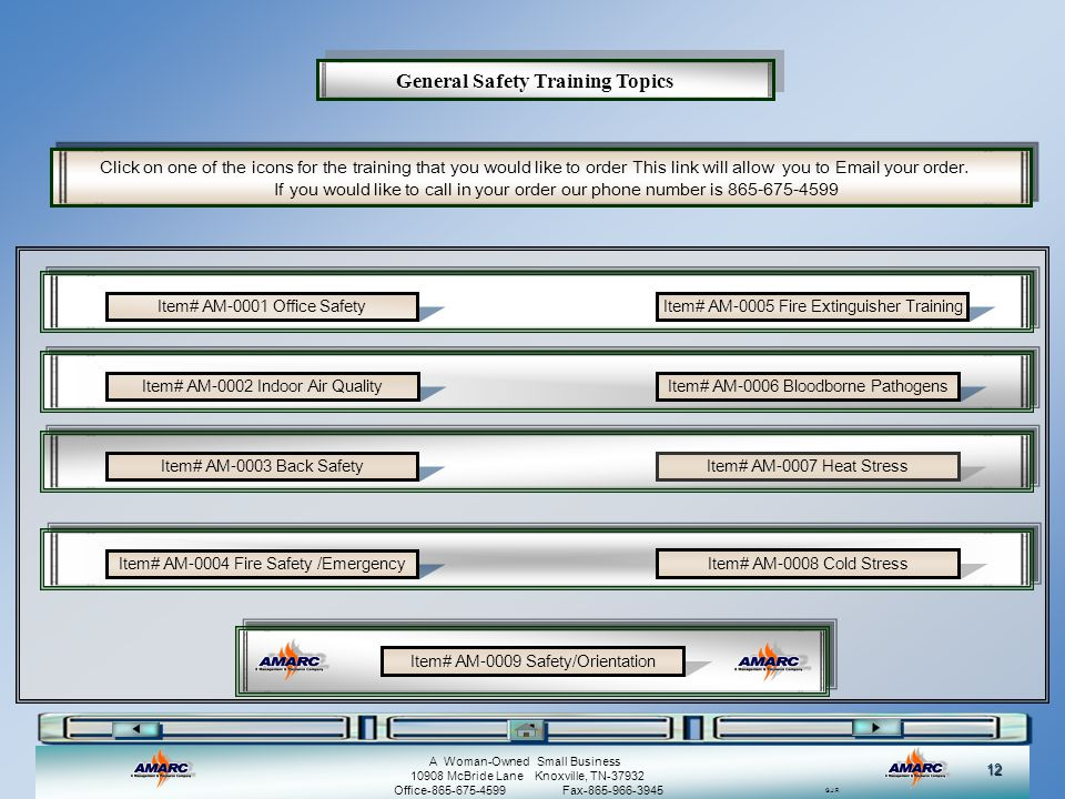 General Safety Training Topics