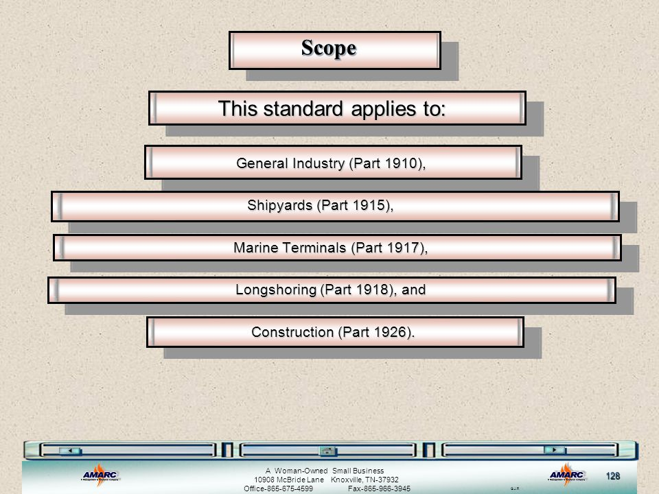 Scope This standard applies to: General Industry (Part 1910),